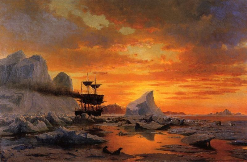 William Bradford Ice Dwellers Watching the Invaders sunset