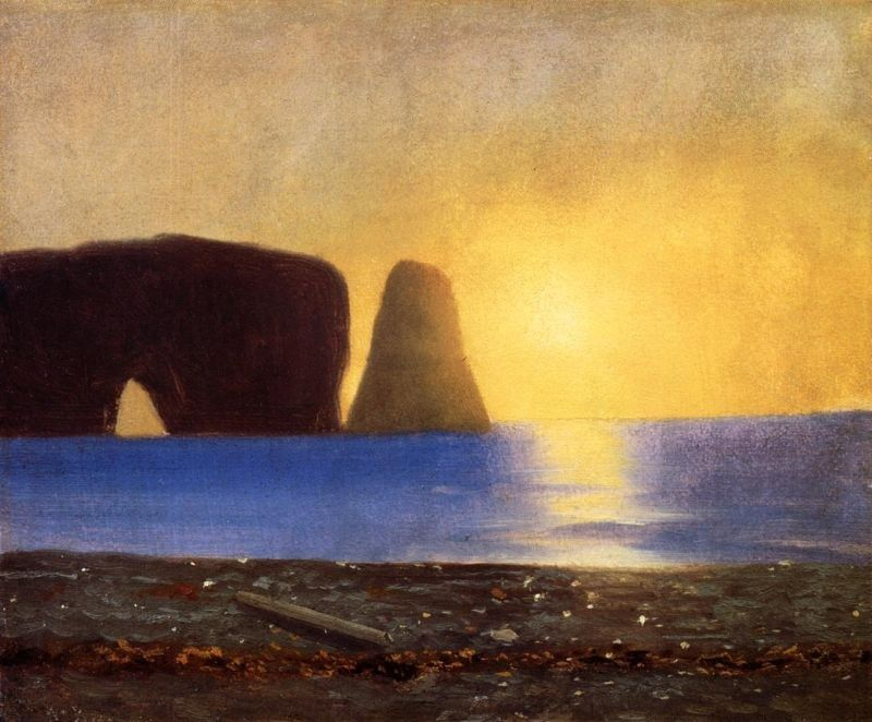 William Bradford The Sun Sets, Perce Rock, Gaspe, Quebec