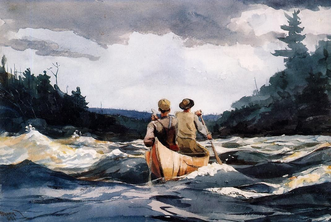 Winslow Homer Canoe in the Rapids
