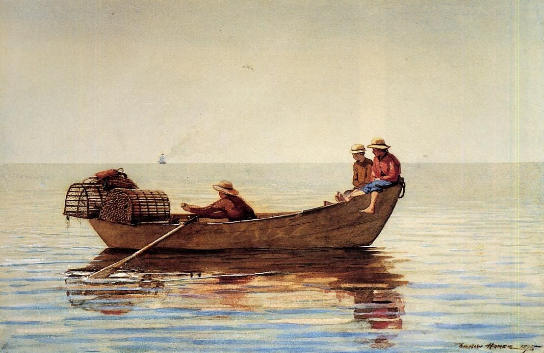 Winslow Homer Three Boys in a Dory with Lobster Pots