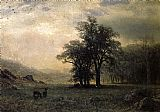 albert bierstadt Paintings - Deer in a Landscape