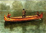 albert bierstadt Paintings - Fishing from a Canoe