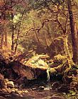 albert bierstadt Paintings - The Mountain Brook