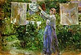 Berthe Morisot Peasant Hanging out the Washing painting