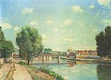 Camille Pissarro The Railway Bridge at Pontoise painting