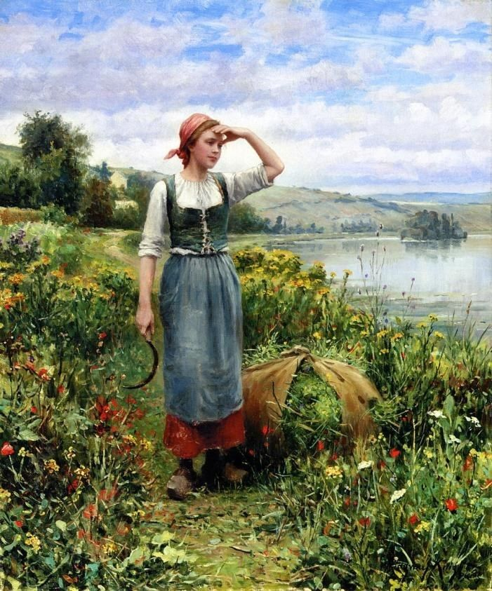 Daniel Ridgway Knight A Field of Flowers