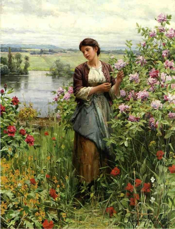 Daniel Ridgway Knight Julia among the Roses