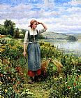 Daniel Ridgway Knight A Field of Flowers painting