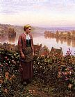 Daniel Ridgway Knight A Garden above the Seine, Rolleboise painting