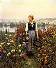 Daniel Ridgway Knight Girl with a Basket in a Garden painting