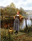 Daniel Ridgway Knight Young Girl by a Stream painting