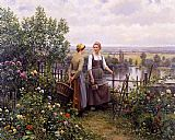 two sisters on the terrace Canvas Prints - Maria and Madeleine on the Terrace