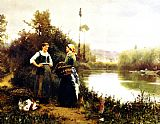 Daniel Ridgway Knight On the Way to Market painting