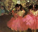 Dancer paintings - Dancers in Pink by Edgar Degas