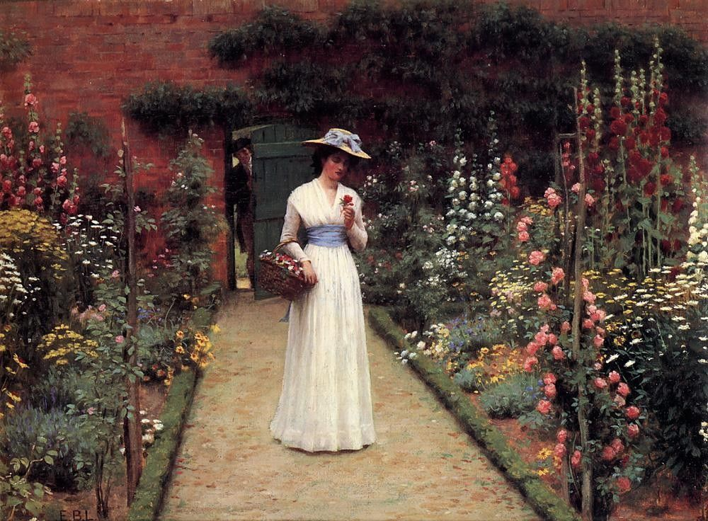 Edmund Blair Leighton Lady in a Garden