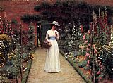 Edmund Blair Leighton Lady in a Garden painting