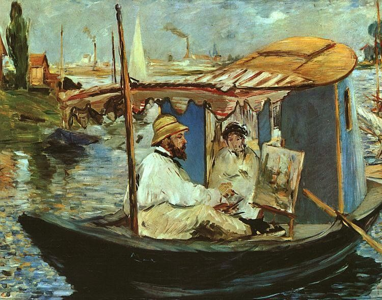 Edouard Manet Claude Monet working on his boat in Argenteuil