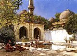 Church paintings - Figures in the Courtyard of a Mosque by Edwin Lord Weeks