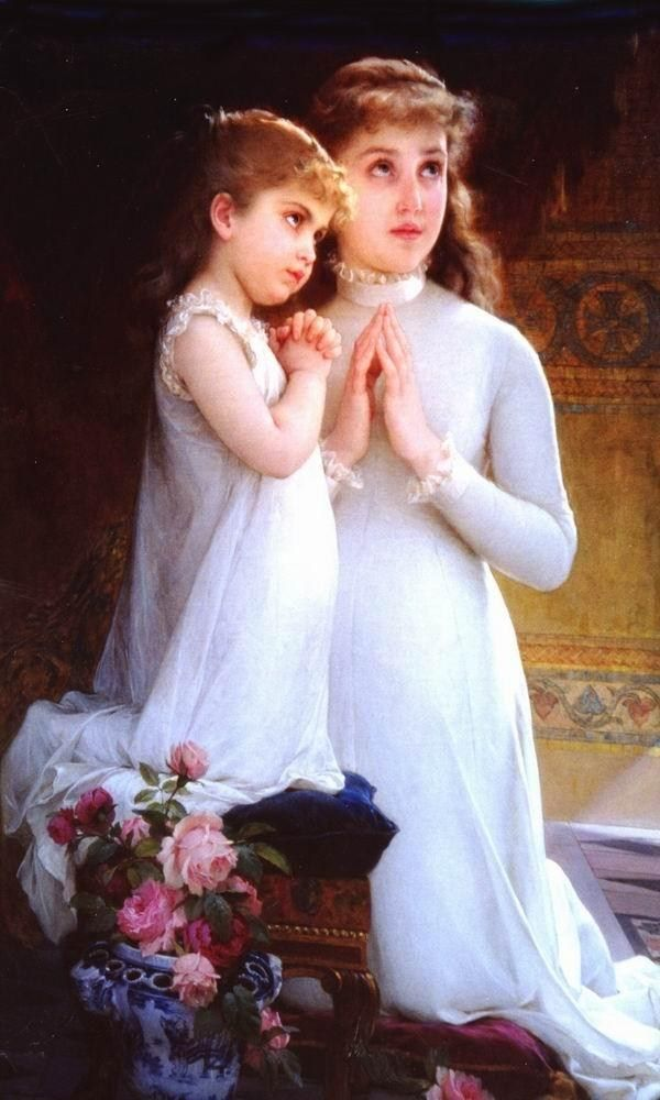Emile Munier Two Girls Praying