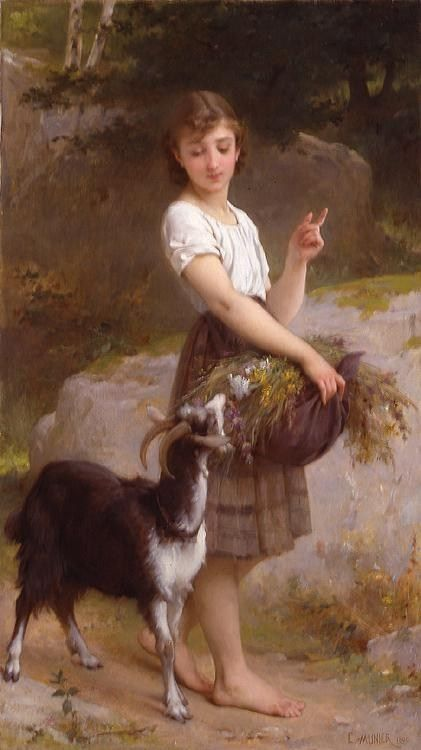 Emile Munier Young Girl with Goat & Flowers