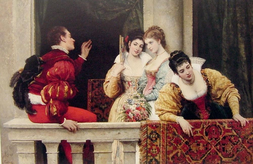 Eugene de Blaas On the Balcony