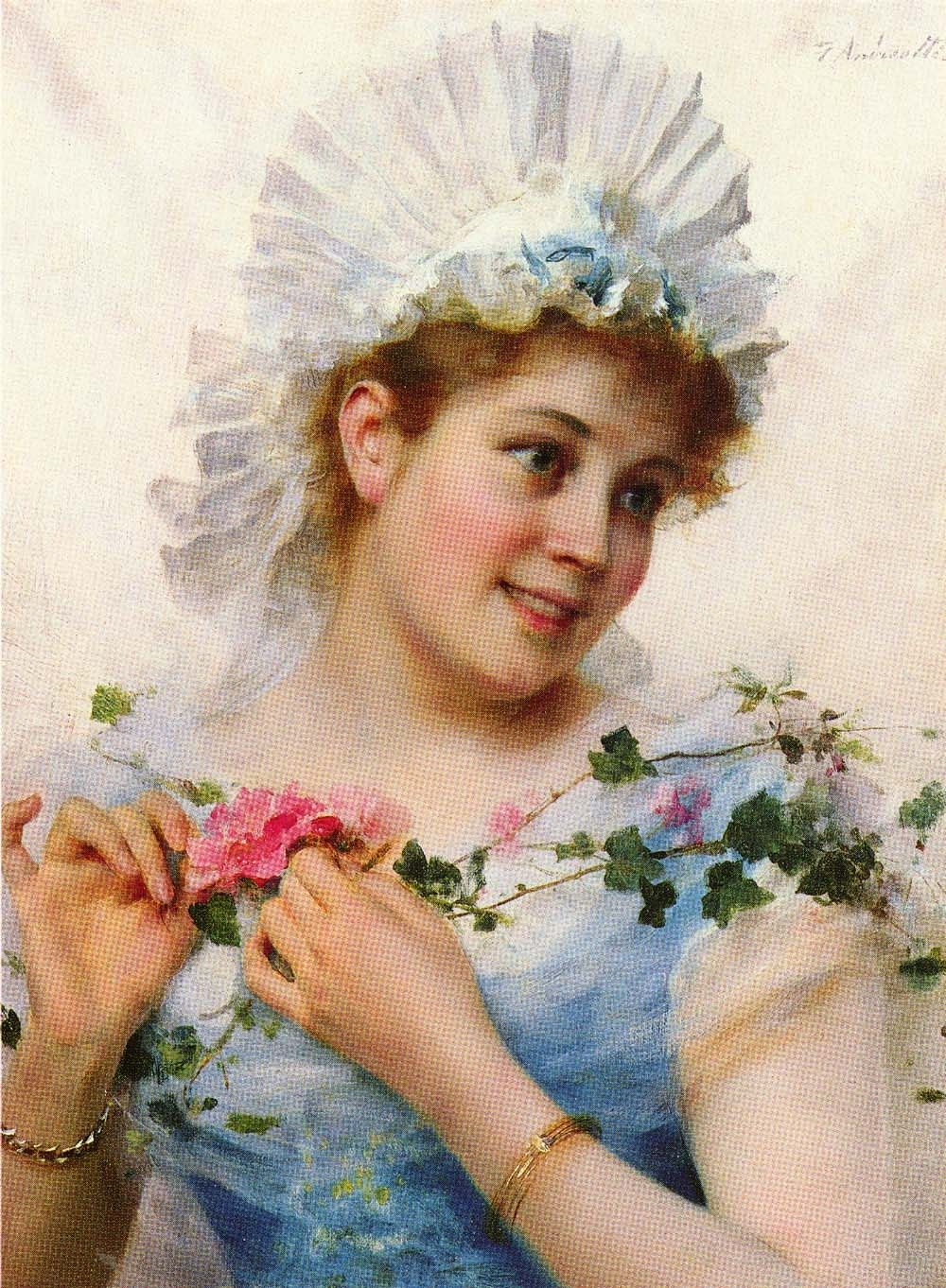 Federico Andreotti A Young Girl With Roses