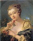 Francois Boucher Young Woman with a Bouquet of Roses painting