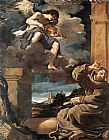 Guercino St Francis with an Angel Playing Violin painting