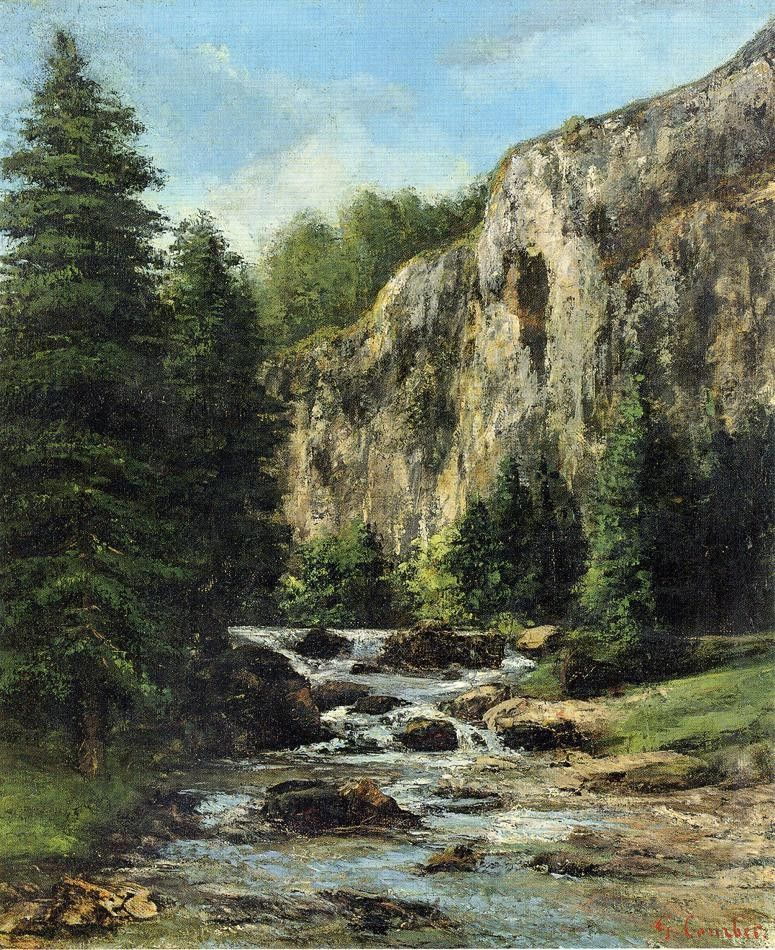 Gustave Courbet Study for 'Landscape with Waterfall