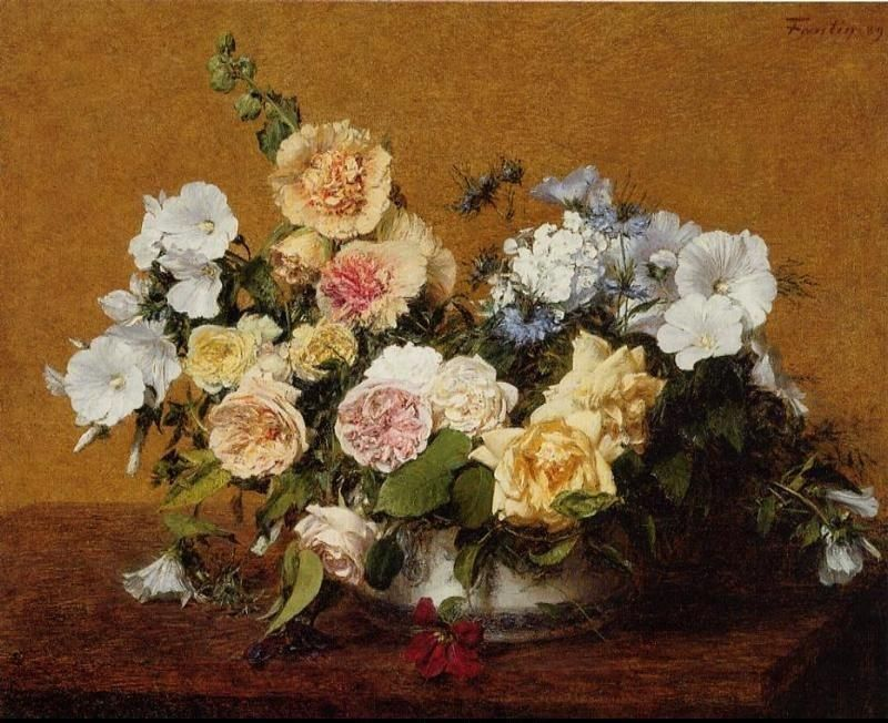 Henri Fantin-Latour Bouquet of Roses and Other Flowers