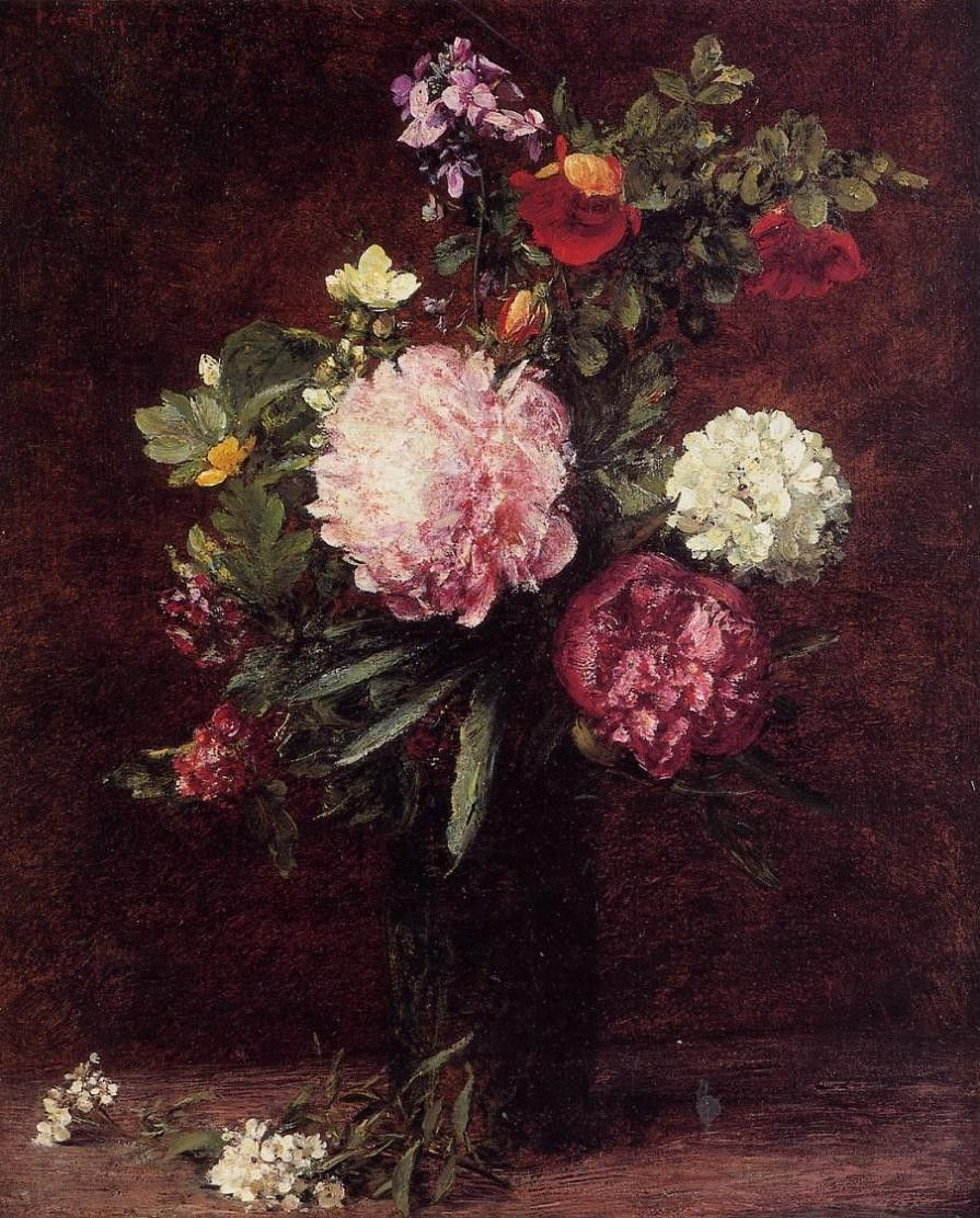 Henri Fantin-Latour Flowers Large Bouquet with Three Peonies