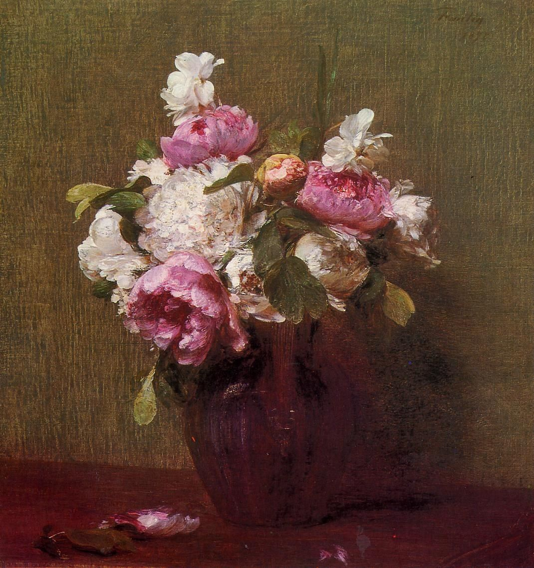 Henri Fantin-Latour White Peonies and Roses Narcissus