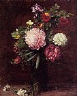 Henri Fantin-Latour Flowers Large Bouquet with Three Peonies painting