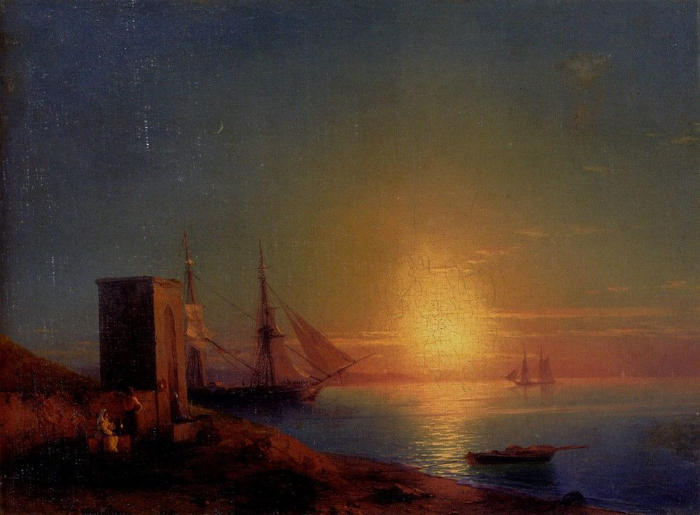 Ivan Constantinovich Aivazovsky Figures In A Coastal Landscape At Sunset