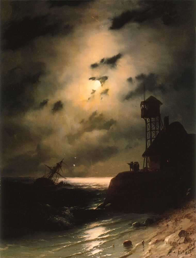 Ivan Constantinovich Aivazovsky Moonlit Seascape With Shipwreck