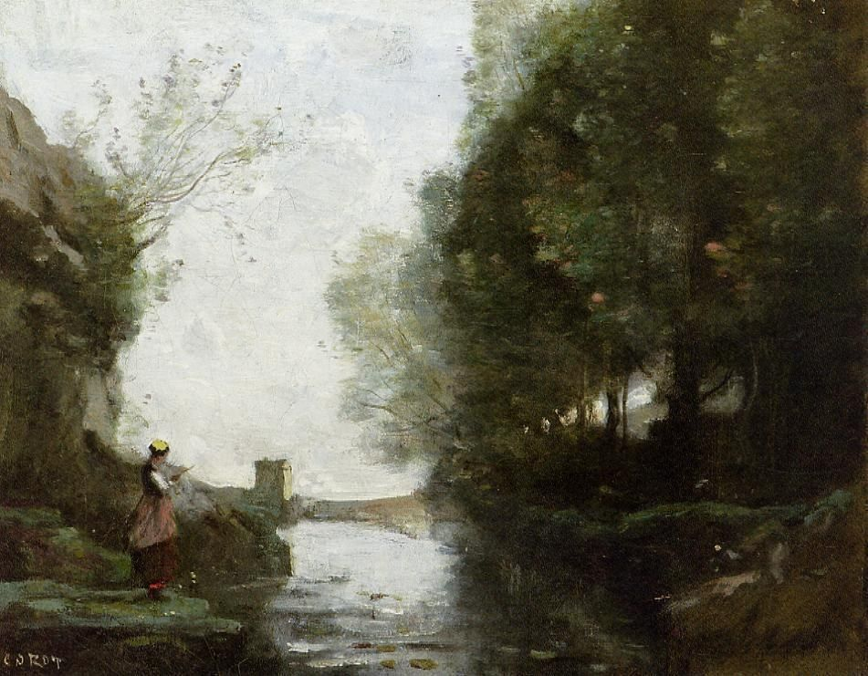 Jean-Baptiste-Camille Corot Watercourse leading to the square tower