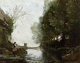Jean-Baptiste-Camille Corot Watercourse leading to the square tower painting