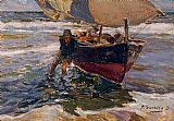 study for celebration Paintings - Beaching the Boat (study)