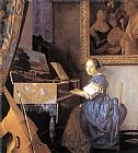 Johannes Vermeer Lady Seated at a Virginal painting