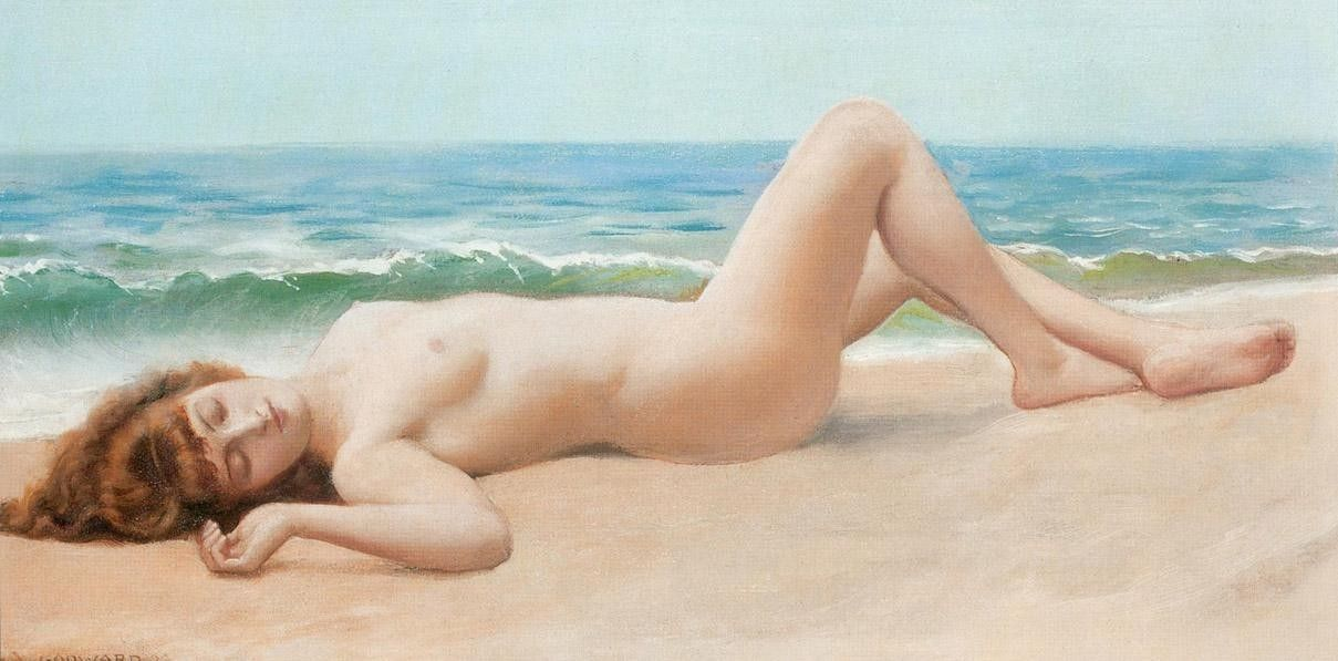 John William Godward Nu Sur La Plage