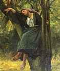 Jules Breton Asleep In The Woods painting