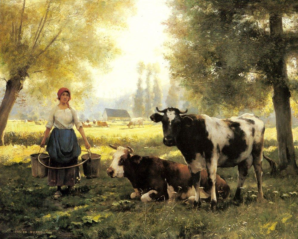 Julien Dupre A Milkmaid with her Cows on a Summer Day
