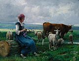 Shepherdess with Goat Sheep and Cow