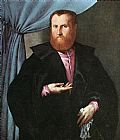 Lorenzo Lotto Portrait of a Man in Black Silk Cloak painting