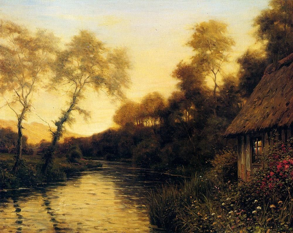 Louis Aston Knight A French River Landscape At Sunset