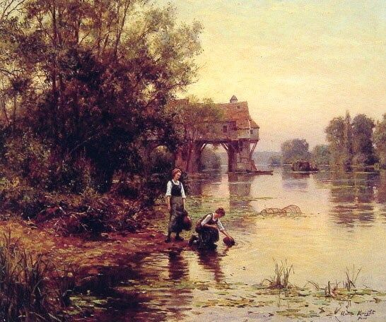 Louis Aston Knight Two Girls by a Stream