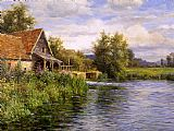 Louis Aston Knight Cottage by the River painting