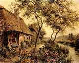 Louis Aston Knight Cottages Beside A River painting