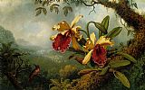 Martin Johnson Heade Orchids and Hummingbird painting