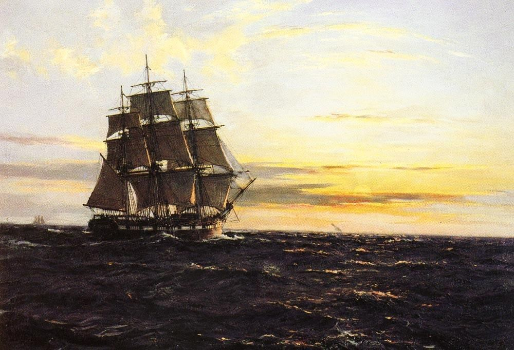 Montague Dawson Into The Westerly Sun